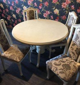 Круглый стол, четыре стула