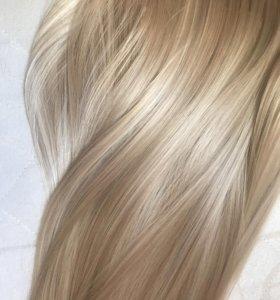 Волосы на заколках пепельный блонд