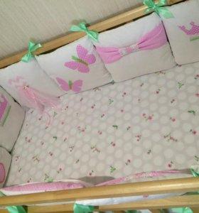 Бортики в кроватку комплект белья одеяло