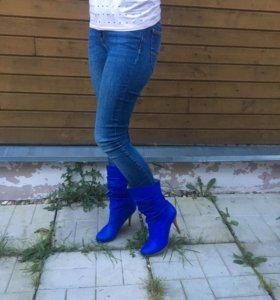 Полусапожки кожаные синие