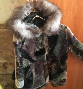 мутоновая шуба+меховая шапка(натуральная)