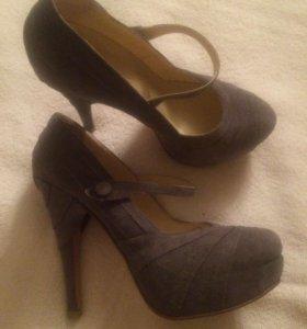 Туфли, замшевые, серого цвета