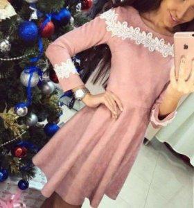 Платье под замшу