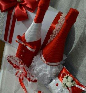 Свадебные аксесуары.Бутылки,бокаллы и др.