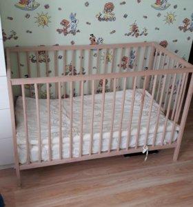 Детская кроватка икеа (матрас + тонкий матрас)