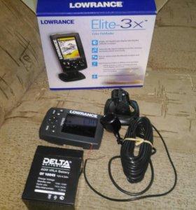 Эхолот Lowrance Elite-3x + аккумулятор delta