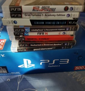Sony PlayStation 3 Super Slim 500 Gb+8 игр+2 геймп