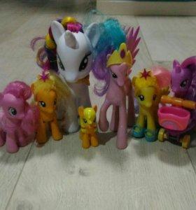 ЖД и поезд дружбы, самокат и 7 пони My little pony