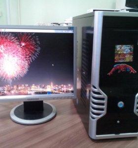 "2 ядра компьютер с монитором Samsung 17"""