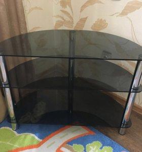 Угловая стеклянная тумба под ТВ