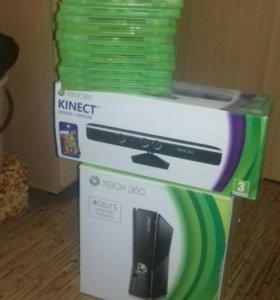 Xbox 360 500Gb+Kinect+15 игр+Джостик с батарейками