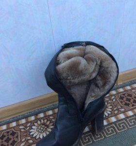Сапоги натуральная кожа мех женские зимние