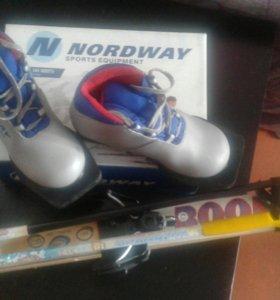 Комплект ботинки лыжные+лыжи+палки