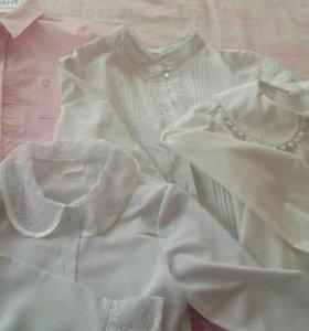 Блузки школьные, рубашки р.128-134