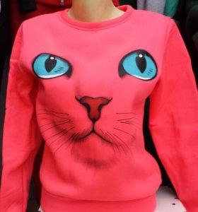 Свитшот Кошка (флис) розовый