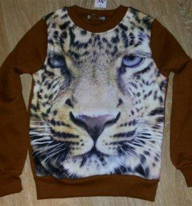 Свитшот Тигр (флис) коричневый