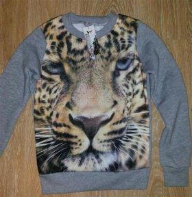 Свитшот Тигр (флис) серый