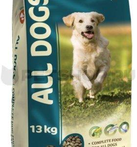 Корм для собак all dogs 13 + 2 кг