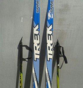 Лыжи беговые детские палки графитовые