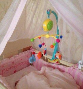 Кроватка детская маятник с полкой