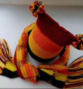 Комплект шапка+ шарф,ручная работа.