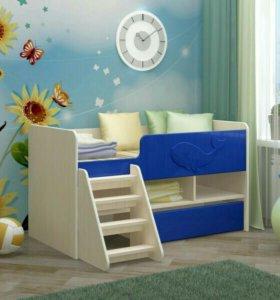 Кровать юниор-3 синий цает