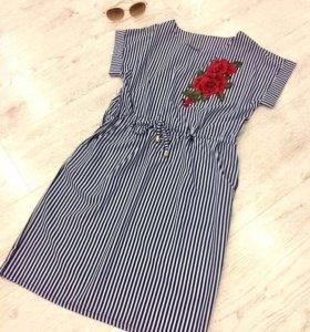 Платье полосатое на шнурке с розой