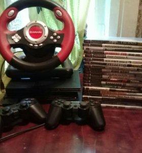 Ps2 2 штуки диски и руль