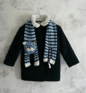 Детский вязаный шарф кот