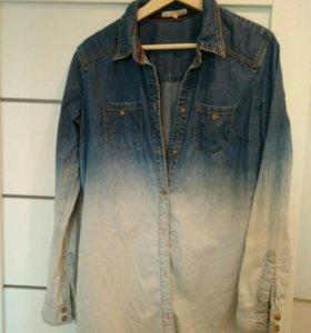 Джинсовая рубашка градиент М