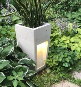 Декоративный дизайнерский светильник из бетона
