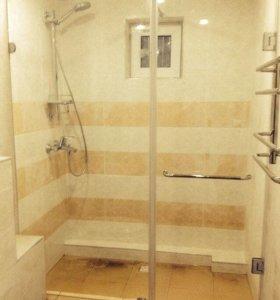 Цельно стеклянные перегородки для ванных комнат