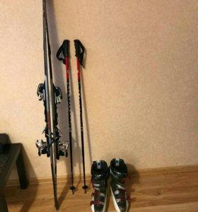 Лыжи, крепления, ботинки, палки.