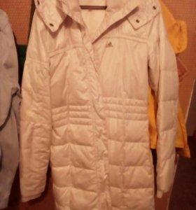 Кожаная курточка,белый пуховик