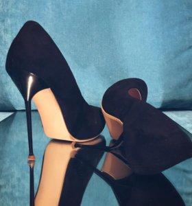 Велюровые✨ чёрные туфли