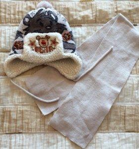 Шапка +шарф на 1-1,5г