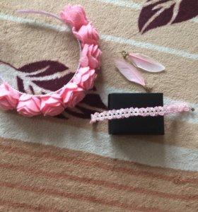 Ободок и браслет с серьгами