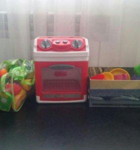 Печка,посуда и овощи(фрукты)