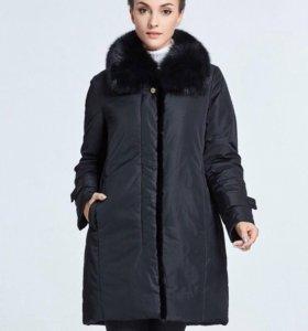 Демисизонное пальто с норкой р.L-4XL