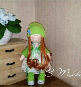 Интерьерная текстильная кукла. Под заказ.