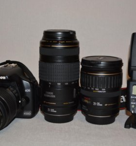 Canon 450d (kit) + 28-135mm + 70-300mm + 430 EX II