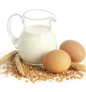 Молоко козье, куриные яйца