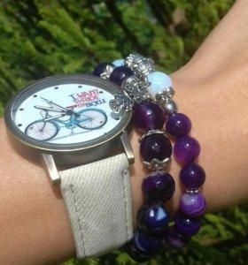 Наборы часы +браслеты из натуральных камней .