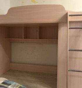Кровать чердак со встроенным шкафкиком