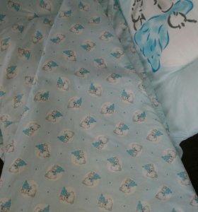 Бортики в кроватку + балдахин + кронштейн.