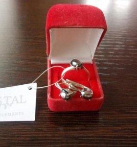 Комплект кольцо + серьги