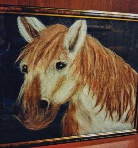 Картина Лошадь (Шерстяная живопись)