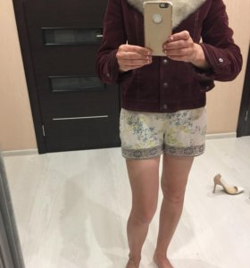 Модная вельветовая куртка с мехом норки