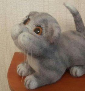 Кошка из шерсти валяние игрушка