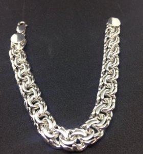 Браслет бисмарк мужской серебро 925